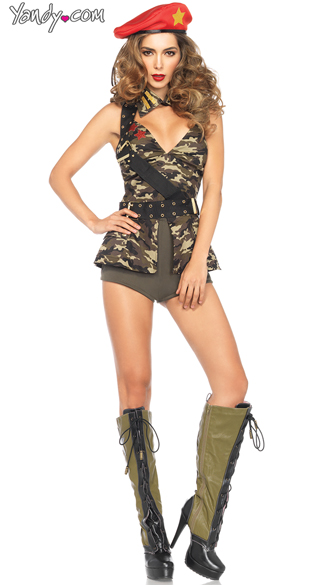Red Beret Babe Costume, Sexy Camouflage Guerrilla Leader Costume, Red Beret Camouflage Babe Costume