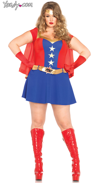 Plus Size Comic Book Girl Costume, Plus Size Woman Heroin Costume, Plus Size Superhero Costume