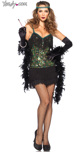 Sexy Feathered Flapper Costume, Flapper Costume, Sexy Flapper Dress Costume