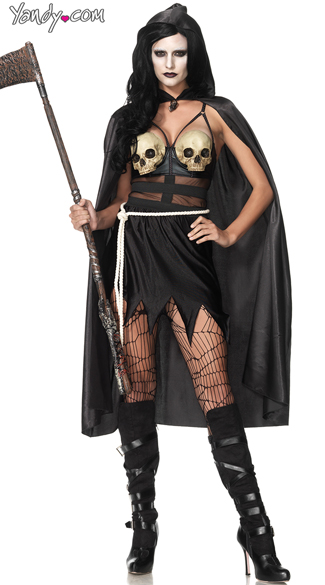 Death Dealer Executioner Costume, Sexy Scary Costume, Skull Dress Costume