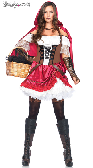 Rebel Riding Hood Costume, Red Riding Hood Costume, Sexy red Riding Hood Costume