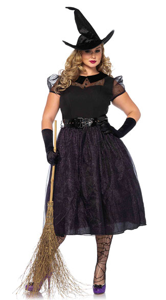 Plus Size Darling Spellcaster Costume, Plus Size Sexy Witch Costume, Plus Size Black Witch Costume