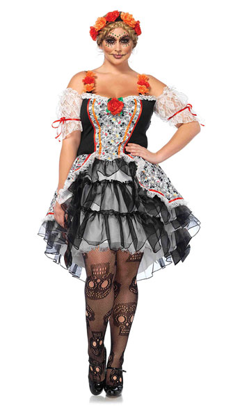 Plus Size Sugar Skull Senorita Costume, Plus Size Sexy Day of the Dead Costume, Plus Size Sexy Dia De Los Muertos Costume