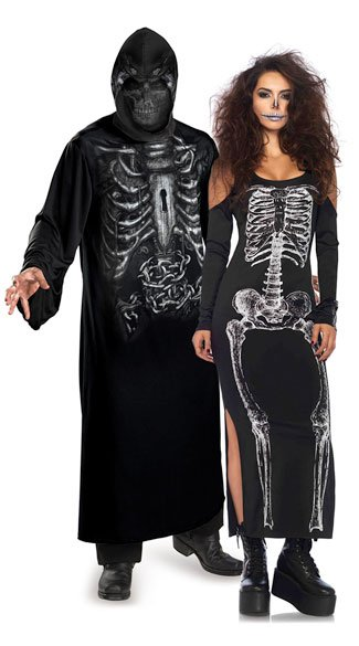 Haunting Skeleton Couples Costume, Cold Shoulder Skeleton Costume, Sexy Skeleton Costume, Skeleton Dress Costume, Men\'s Hooded Reaper Costume, Men\'s Reaper Costume, Men\'s Robe Costume