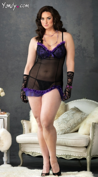 Plus Size Black And Purple Mesh Chemise Set