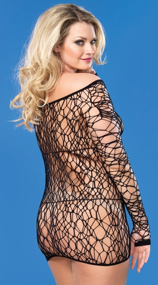 Plus Size Long Sleeve Netted Dress