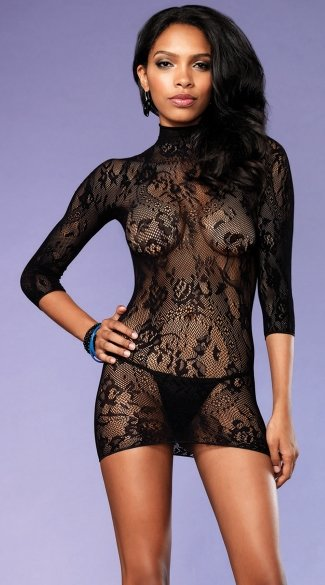 Floral Lace High Neck Chemise