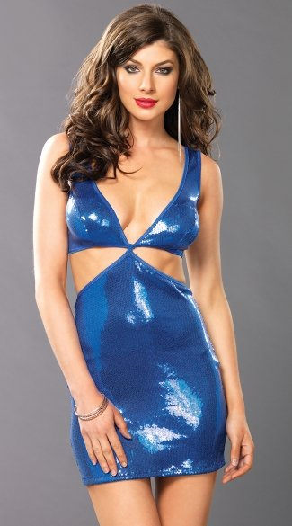 Aqua Nights Cut Out Mini Dress, Blue Sequin Bodycon Dress with Cut Outs, Sexy Blue Sequin Club Dress