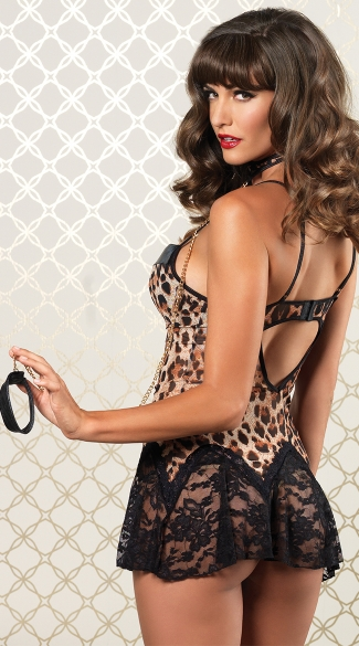 On The Prowl Leopard Chemise with Choker