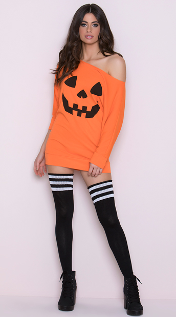 Loose Pumpkin Tank Dress, Orange Pumpkin Dress, Sexy Pumpkin Dress