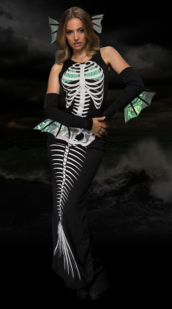 Skeleton Siren Costume, Sultry Scary Siren Costume - Yandy.com