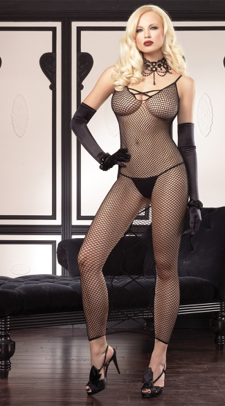 Long Fishnet Dress with Open Criss-Cross Backside, Sexy Fishnet Lingerie Dress, Open Back Fishnet Chemise Gown