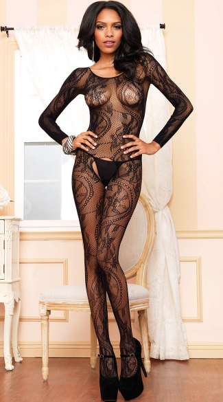 Swirl Lace Bodystocking, Seamless Bodystocking