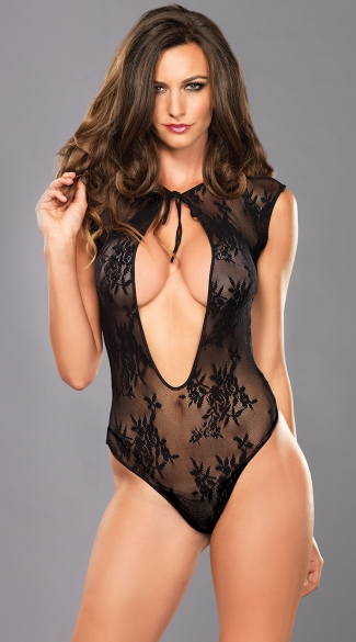 Peek-A-Boo Lace Thong Teddy