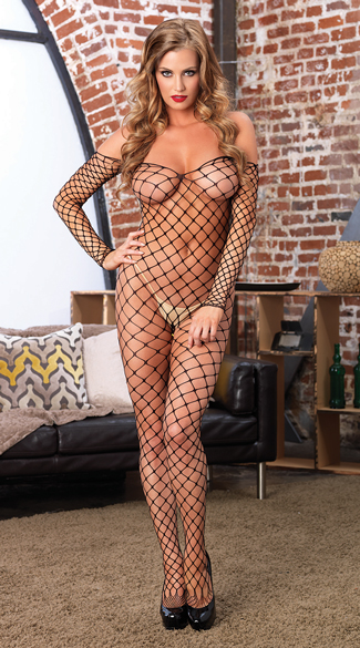 Fence Net Off The Shoulder Bodystocking, Fishnet Bodystocking, Crotchless Bodystocking