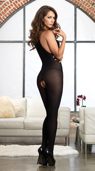 Opaque Eyelash Lace Bodystocking