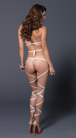 Wrap Around Fishnet Halter and G-String Set