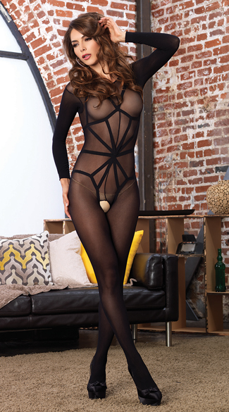 Long Sleeved Bodystocking with Illusion Cage Teddy