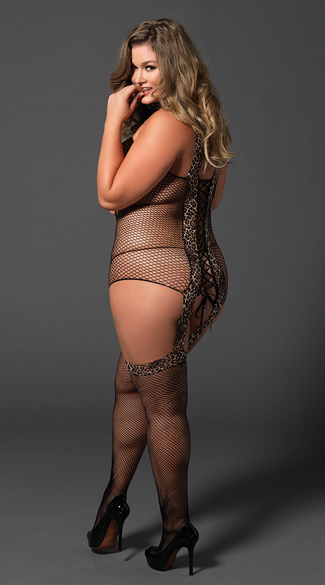 Plus Size Reversible Leopard and Fishnet Bodystocking