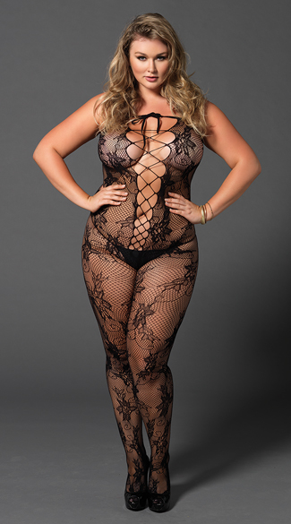 Plus Size Seamless Fishnet Lace-Up Bodystocking