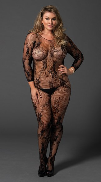Plus Size Seamless Fishnet and Lace Bodystocking, Plus Size Fishnet Bodystocking, Plus Size Long Sleeve Bodystocking