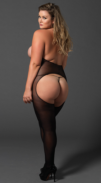 Plus Size Opaque Cut Out Halter Bodystocking