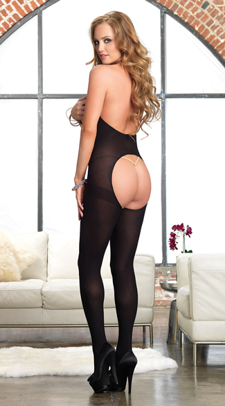 Opaque Cut Out Halter Bodystocking
