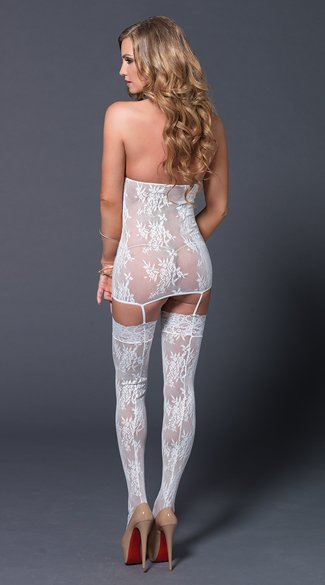 Mesh and Lace Cage Suspender Bodystocking