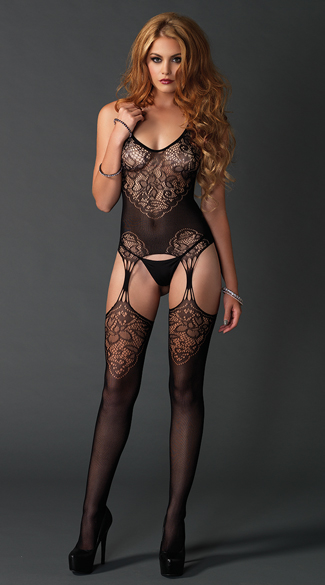 Seamless Jacquard Lace Black Bodystocking, Black Lace Bodystocking, Sheer Bodystocking