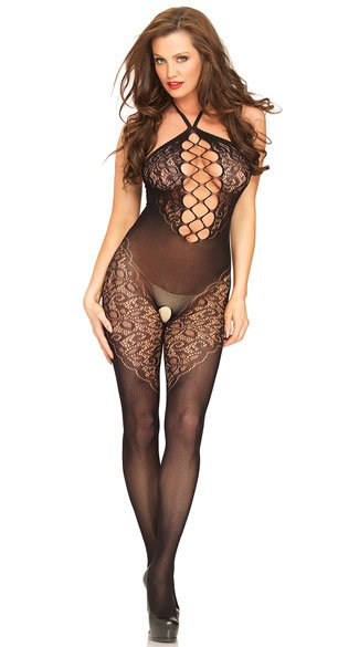 Black Halter Net Bodystocking Mesh And Lace Bodystocking