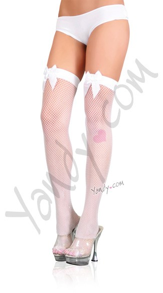 Fishnet Thigh Highs With Satin Bow