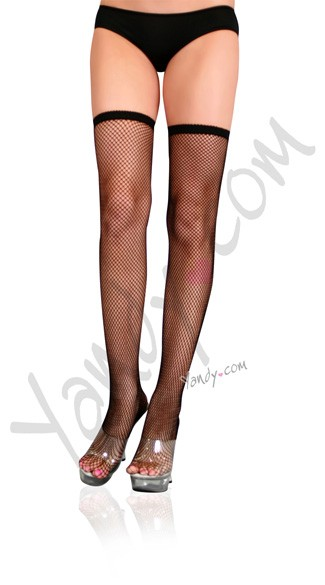 Fishnet Thigh Highs with Thin Scalloped Elastic Top, Sexy Fishnet Thigh Hi\'s