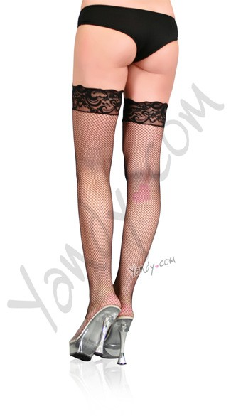 Plus Size Fine Fishnet Stockings w/ Lace Top