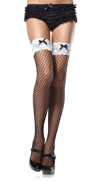 French Maid Stockings - Fishnet Stockings w/ Contrast Lace Top