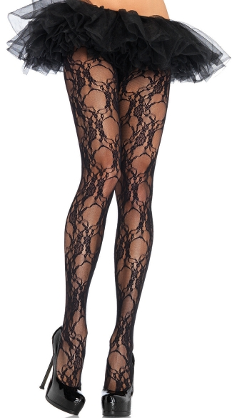 Plus Size Floral Lace Pantyhose, Plus Size Black Flower Hose, Plus Size Black Lace Stockings
