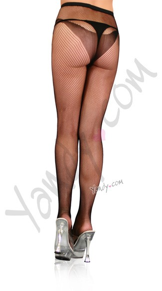 Fishnet Pantyhose w/ Open Hole Seam & Butterfly Print