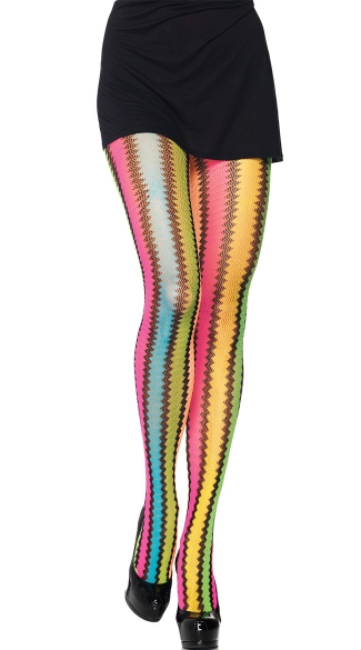 Rainbow Zig Zag Net Pantyhose, Rainbow Net Pantyhose, Rainbow Stockings