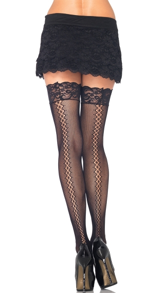 Fishnet Thigh Highs with Twist Backseam