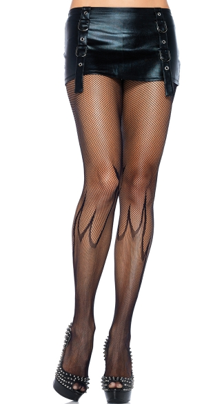 Fishnet Flame Pantyhose