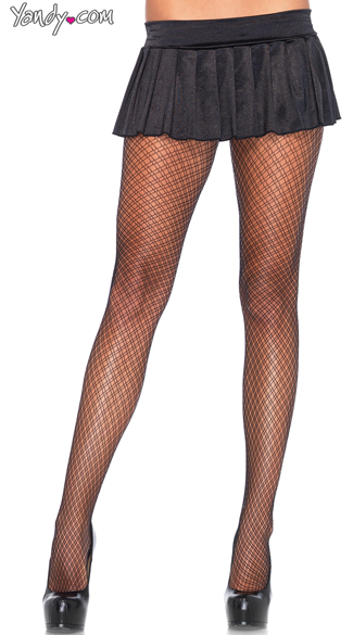 Dual Plaid Net Pantyhose