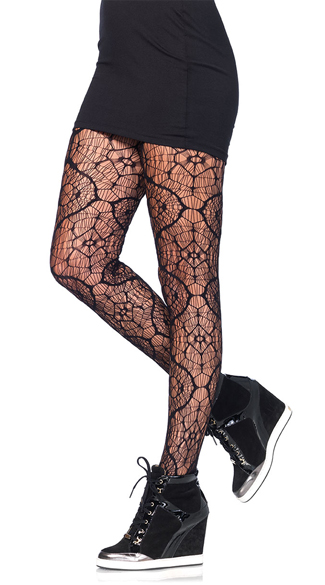 Stained Glass Netted Pantyhose, Netted Pantyhose, Black Pantyhose