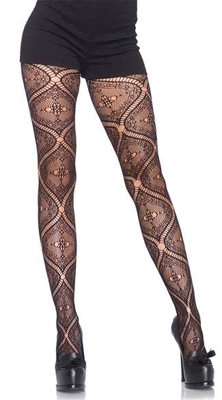 Intricate Vine Lace Pantyhose, Fishnet and Lace Pantyhose, Lace Pantyhose