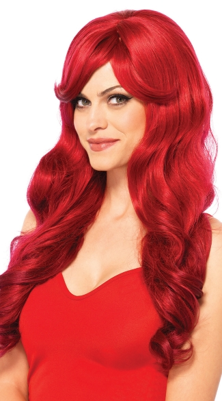 Long Wavy Red Wig, Long Red Costume Wig