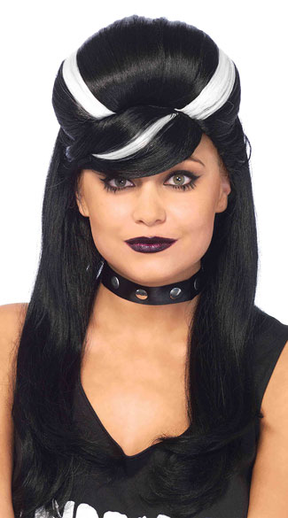 Frankie Bouffant Wig, Black and White Wig, Teased Black Wig