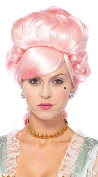 Marie Antoinette Wig, Pink Marie Antoinette Wig, Pink Curly Wig