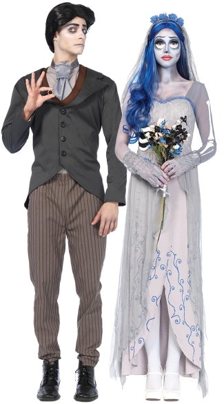 The Corpse Bride Couples Costume, Corpse Bride Costume, Bridal Costume, Zombie Bride Costume, Men\'s Victor Costume, Men\'s Groom Costume, Men\'s Zombie Groom Costume