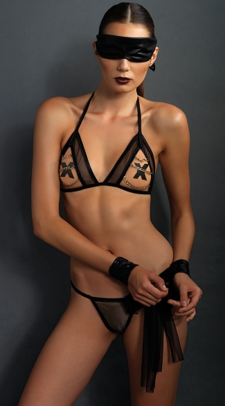 Seductive Bondage Set With Gold Chain Accents, Black Submissive Lingerie, Eye Mask And Wrist Restraints