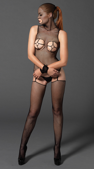 Masked Fishnet Bodystocking with Wrist Restraints