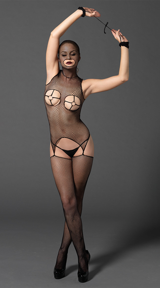 Masked Fishnet Bodystocking with Wrist Restraints, Masked Bodystocking, FIshnet Bodystocking
