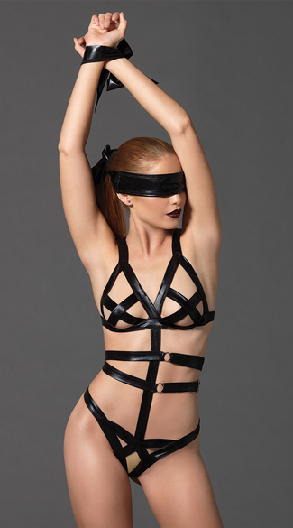 Strappy Bondage Teddy Set, Cage Teddy, Bondage Teddy